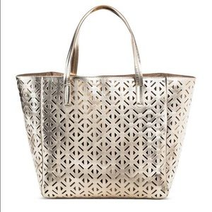 MERONA PERFORATED TOTE IN GOLD